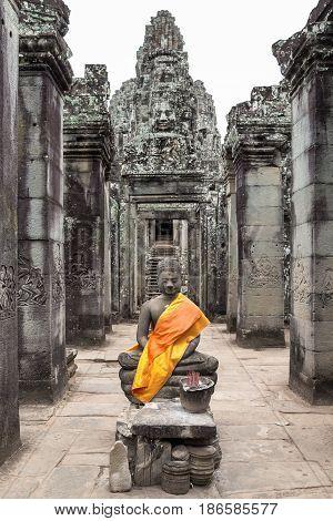 Buddha shrine in Bayon temple of Siem Reap Cambodia