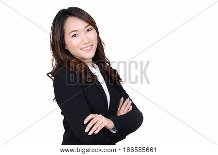 Young Asian businesswoman portrait on white background