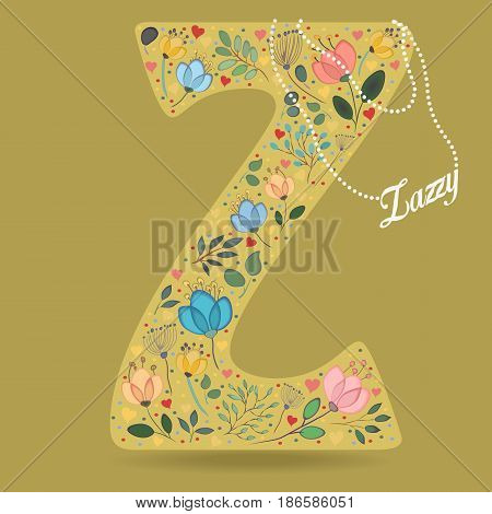 Yellow Letter Z with Folk Floral Decor. Colorful watercolor flowers and plants. Small hearts. Graceful pearl necklace with text Zazzy. Vector Illustration