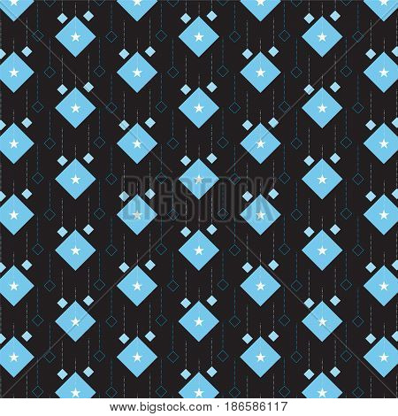 blue diamond with star and linear diamond shape hanging pattern on black background vector illustration image