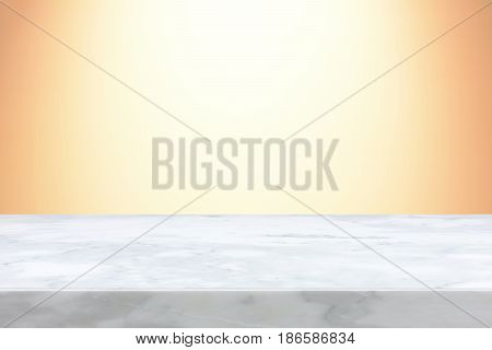 Stone table top on light orange gradient abstract background - can be used for display or montage your products