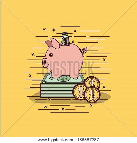 yellow background with moneybox savings vector illustration