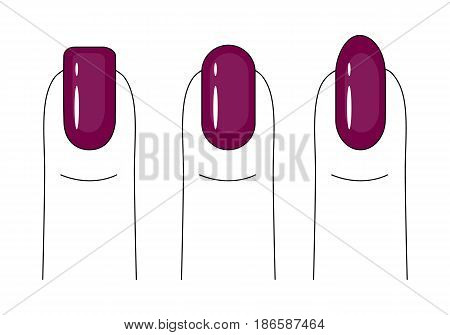 Nail care. Manicure. Nail polish. Different forms of the nail plate. Bright, red nails. Vector illustration.