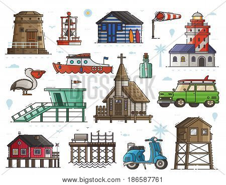 Travel seaside town constructor with typical sea coast and fishing village elements. Lighthouse, marine church, baywatch, scooter, surf car, stilted house, boat and more. Maritime elements collection.