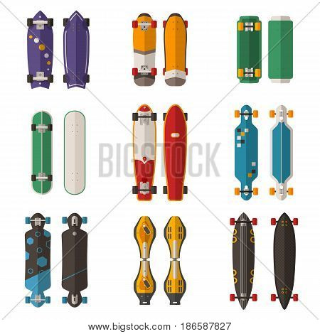 Different skateboard collection. Vector various skate deck in flat design. Skateboarding desks set. Various colors and styles. Classic skateboard, longboard, waveboard and more.