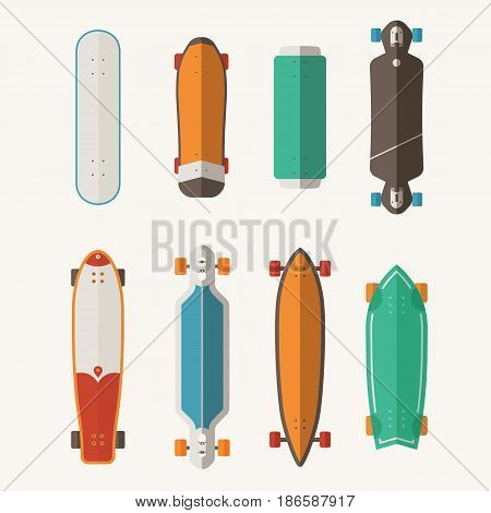 Different skateboard set. Vector various skate deck in flat design. Skateboarding desks collection. Various colors and styles. Classic skateboard, longboard, waveboard and more.