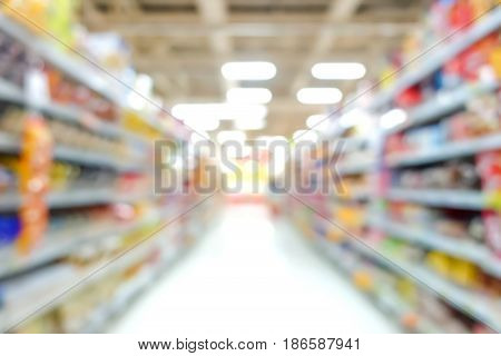 Blur image of aisle in supermarket can be used as background