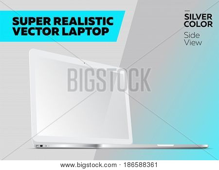 Super Realistic Vector Notebook with Blank Screen. Silver Color White Display. Isolated Mockup with Laptop for Web Website User Interface. Side View Macbook Style.
