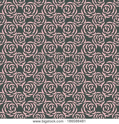 Pattern with rose blossoms on a black background. Simple vintage floral background. Ornament with painted pink flowers Pink color Seamless vector illustration