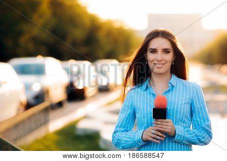 Female News Reporter on Field in Traffic