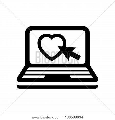 Laptop. Black icon isolated on white background