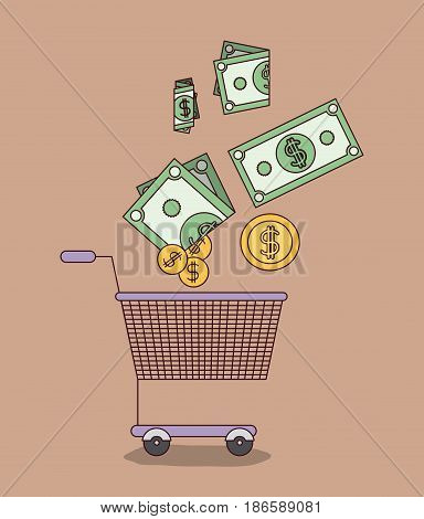 light brown color background with shopping cart with bills and coins vector illustration