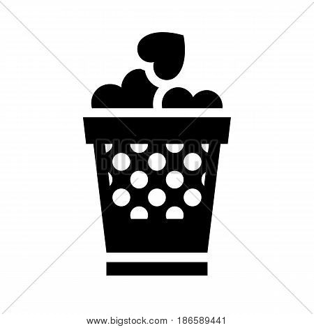 Basket with hearts. Black icon isolated on white background