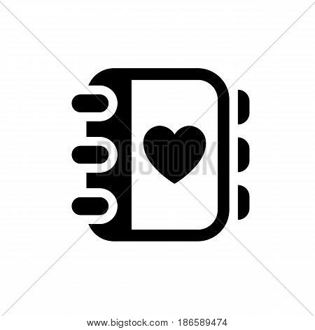 Love notepad. Black icon isolated on white background