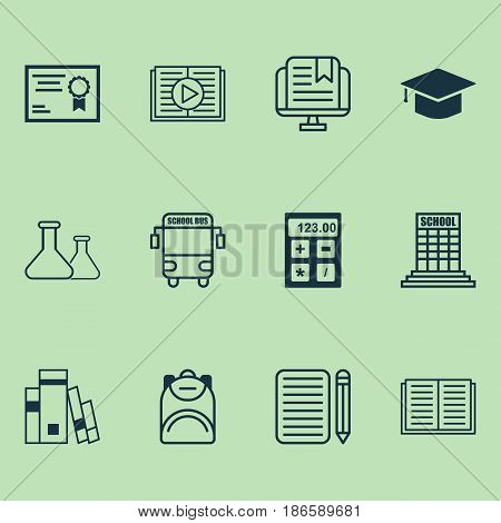 School Icons Set. Collection Of E-Study, Opened Book, Haversack And Other Elements. Also Includes Symbols Such As Electronic, Audio, Knapsack.