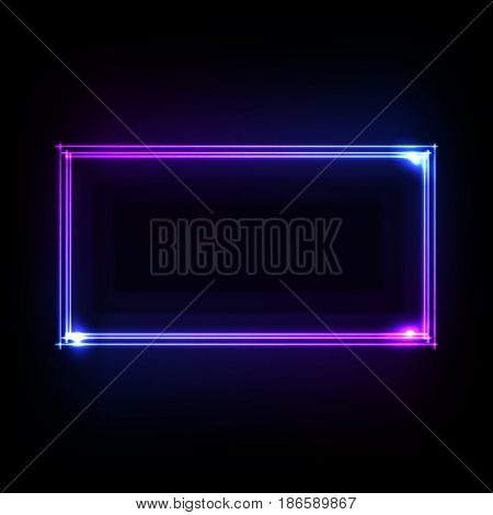 Colorful neon frame on a dark background, abstract illustration.