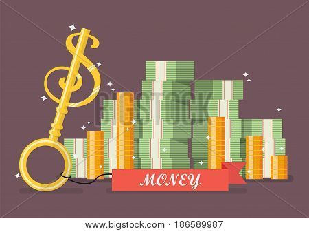 Key to money. Business success concept style