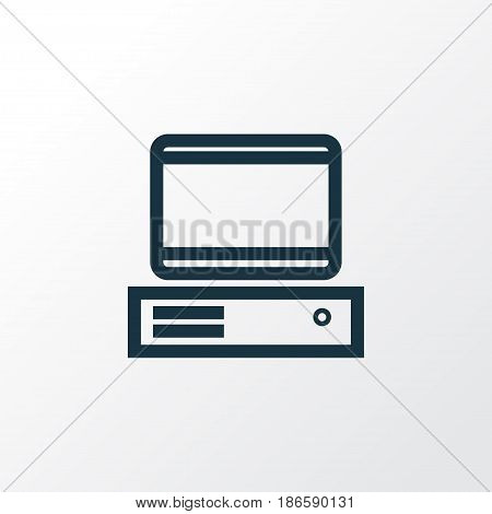 Computer Outline Symbol. Premium Quality Isolated PC  Element In Trendy Style.