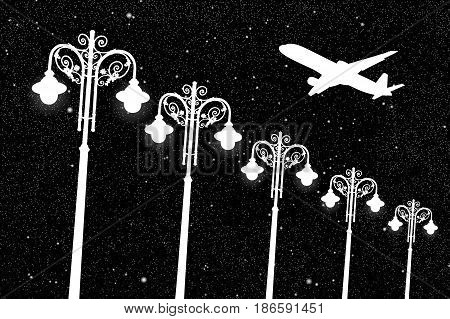 Flying aircraft and vintage lampposts at night. Vector illustration with silhouette of passenger airplane under starry sky. Black and White