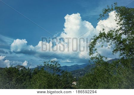 Landscape With Mountains Covered With Forest And Clody Sky