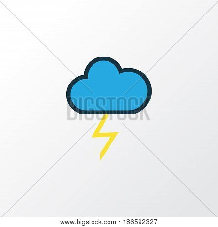 Thunderstroke Colorful Outline Symbol. Premium Quality Isolated Cloudburst Element In Trendy Style.