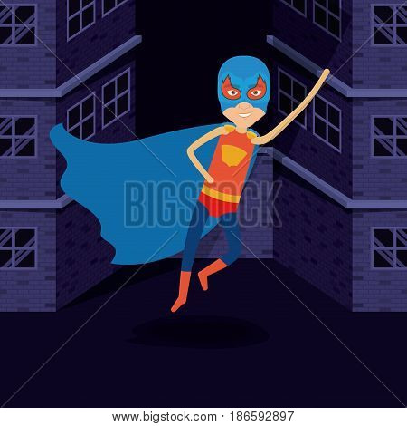 purple background buildings brick facade with superhero man flying with costumes and complete mask vector illustration