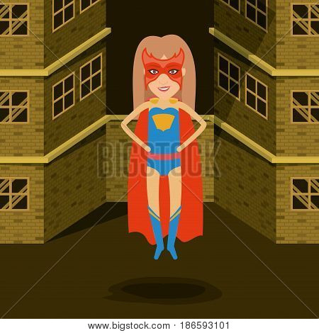 sepia color background buildings brick facade with superwoman posing in outfit with boots vector illustration