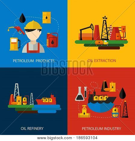 Four square oil industry colored flat set with description of petroleum products and industry oil extraction oil refinery vector illustration