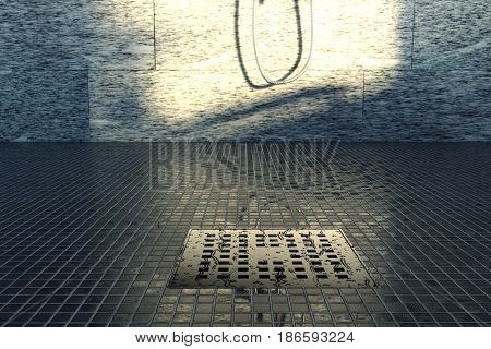 3d rendering of water drops on metal gutter in the evening sunshine