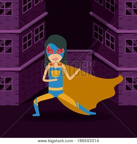violet color background buildings brick facade with front view superheroin woman posing in outfit vector illustration