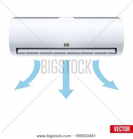 Classic Split air conditioner house system. Switch on with air sparrow. Indoor unit. Sample White color. Vector Illustration on isolated white background