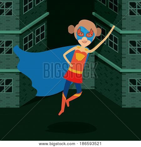 blue color background buildings brick facade with front view superheroin woman flying with collected hair vector illustration