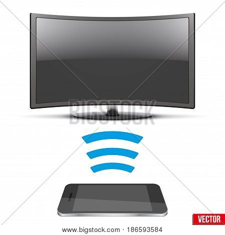 Illustration of Wireless Controlling Modern led tv with smartphone. IOT Concept and remote home appliance. Editable Vector illustration Isolated on white background.
