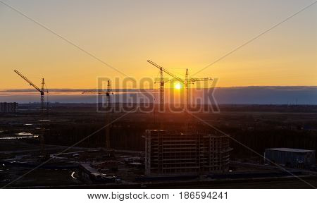 Top view of the construction site at sunset