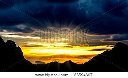 Beautiful landscape silhouette mountains and beautiful sky with sunray
