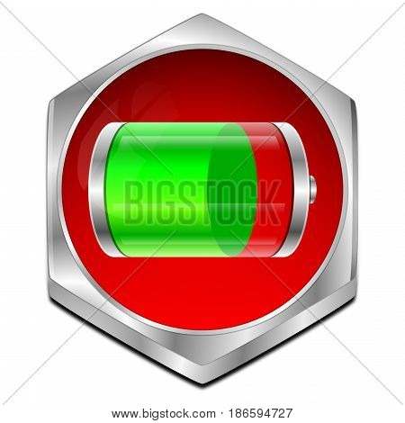 decorative red green Battery Button - 3D illustration
