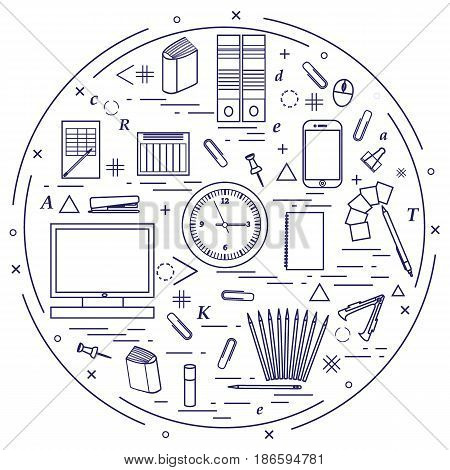 Set Of Different Office Objects Arranged In A Circle. Including Icons Of Paper Clips, Buttons, Penci