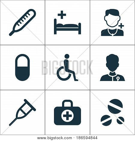 Drug Icons Set. Collection Of Mercury, Stand, Handicapped Elements. Also Includes Symbols Such As Illness, Nurse, Healthy.