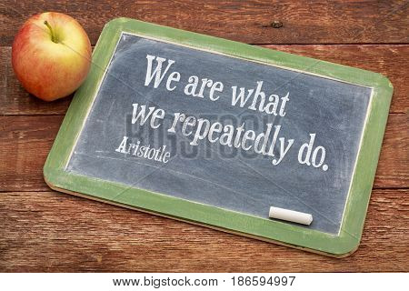 We are what we do - Aristotle quote on a slate blackboard against red barn wood - importance of habits and rituals