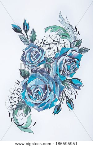 Sketch of a beautiful blue rose on a white background.