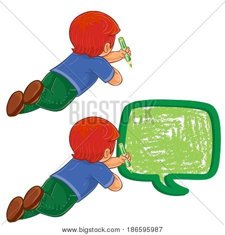 Vector illustration, icon of small boy lies on the floor and draw a speech bubble