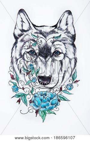 A sketch of wolf head and blue peony on white background.