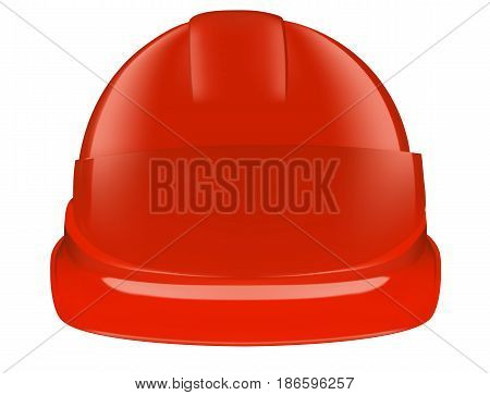 Red plastic safety helmet on white background. Vector 3D illustration