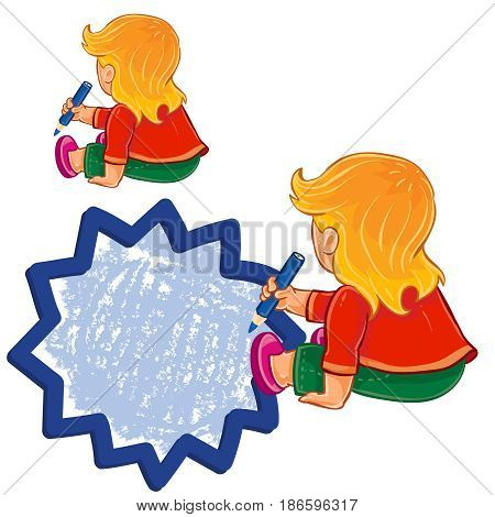 Vector illustration, icon of small girl sitting on the floor and draw a speech bubble