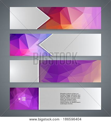 Horizontal Web Banner Triangle Mosaic Background Set Template09
