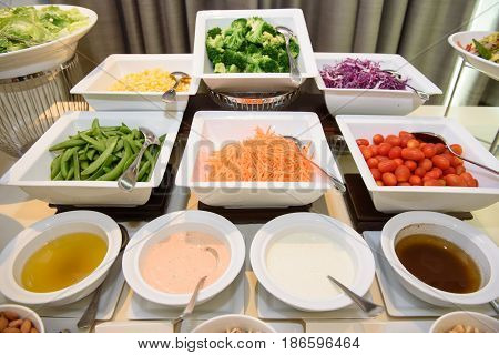 The Salad bar buffet in wedding party