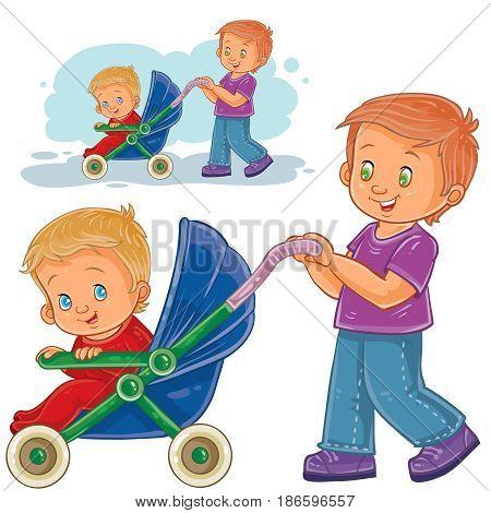 Vector clip art illustration older brother wheeled baby stroller with kid. Print, template, design element