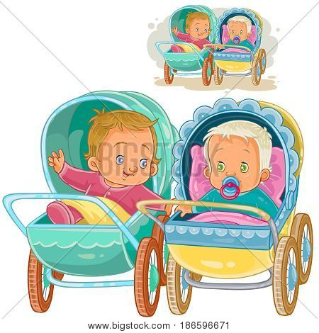 Vector clip art illustration of two small baby lie in baby carriages and try to communicate. Print, template, design element