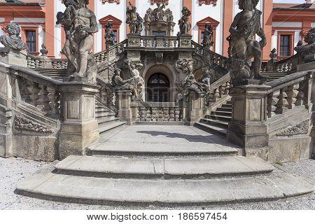 Troja Palace entrance ,sculptures, Prague, Czech Republic