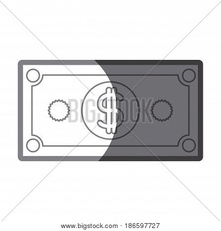 grayscale silhouette of dollar bill vector illustration